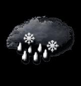 Pluie forte et neige mêlées