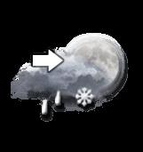 Averses de pluie et neige, ou arrivée de pluie et neige mêlées